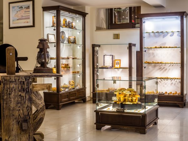 Collection of rare amber antiques at the Amber gallery-museum in Klaipeda Old Town