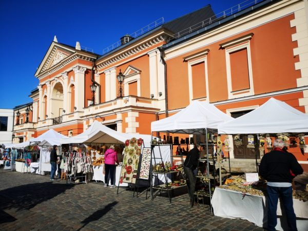 Amber market in the Old Town of Klaipeda